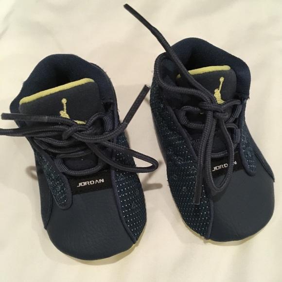 Blue and Yellow Newborn Jordan Sneakers